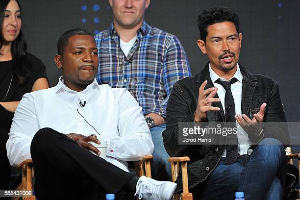 Mekhi Phifer and Anthony Ruivivar speaks onstage at the 'Frequency' panel discussion during the CW portion of the 2016 Television Critics Association...