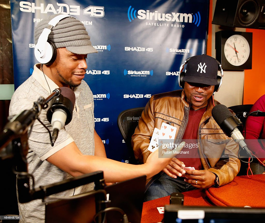 Mekhi Phifer (R) vists Sway in the Morning' with Sway Calloway on Eminem's Shade 45 at SiriusXM Studios on February 27, 2015 in New York City.