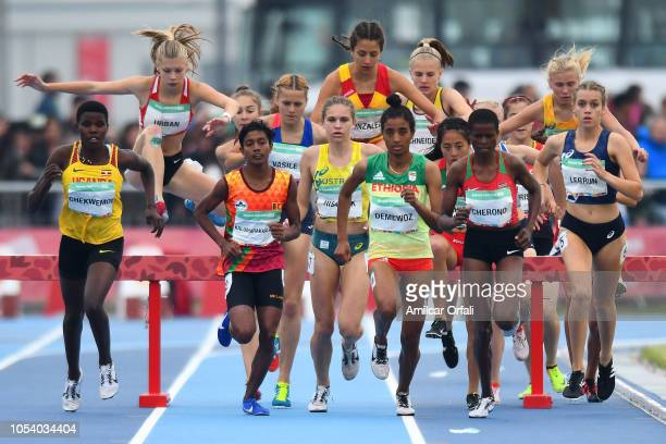 Mekides Abebe Demewoz of Ethiopia leads in Women's 2000m Steeplechase Stage 1 during Buenos Aires 2018 Youth Olympic Games at Youth Olympic Park...