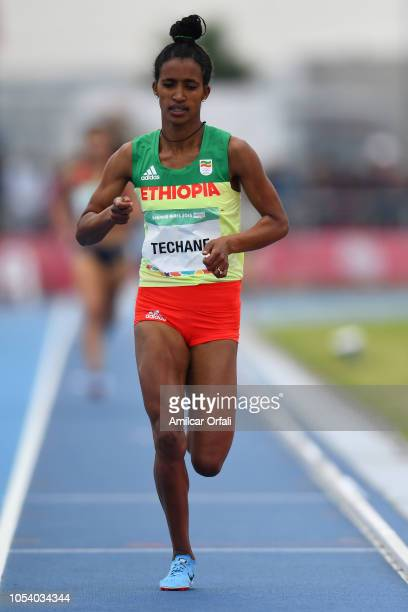 Mekides Abebe Demewoz of Ethipia competes in Women's 2000m Steeplechase Stage 1 during Buenos Aires 2018 Youth Olympic Games at Youth Olympic Park...