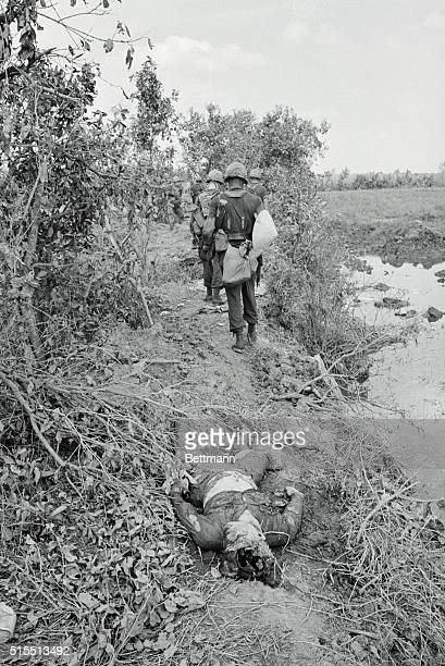 Mekong Delta South Vietnam Crossing The Stream Paratroopers of the 173rd Airborne Brigade cross a small muddy stream typical of the operational area...