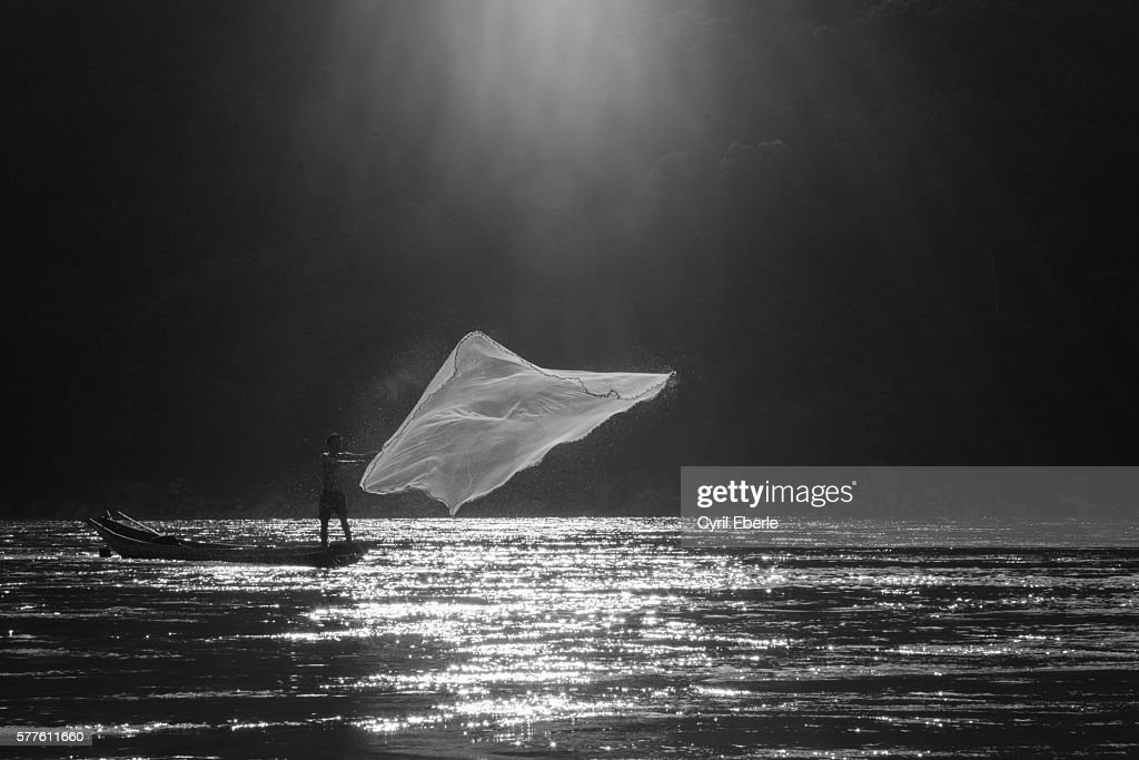 Mekong fisherman : Stock Photo