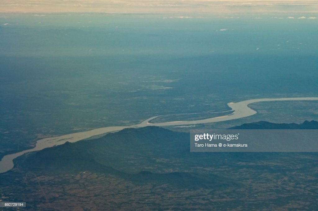 Mekong river, border of Thailand and Laos daytime aerial view from airplane : Stock Photo