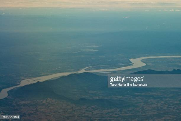 Mekong river, border of Thailand and Laos daytime aerial view from airplane