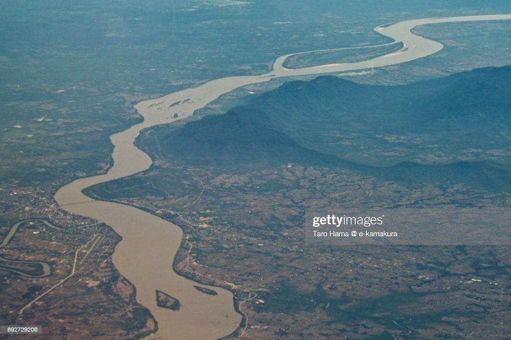 Mekong river, border of Thailand and Laos daytime aerial view from airplane : Stock-Foto