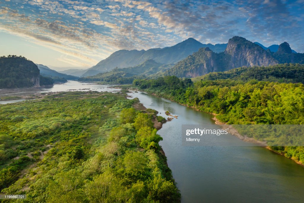 Mekong River in Laos Luang Prabang Pak Ou Drone View : Stock Photo