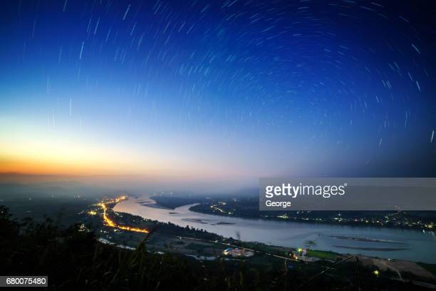 Mekong River in twilight with starlight