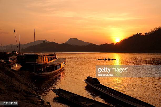 Mekong River, located in Luang Pravang, Laos, at sunset
