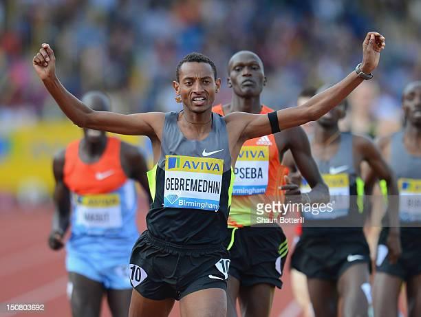 Mekonnen Gebremedhin of Ethiopia wins the 1500m during the Samsung Diamond League 2012 Aviva Birmingham Grand Prix at Alexander Stadium on August 26...