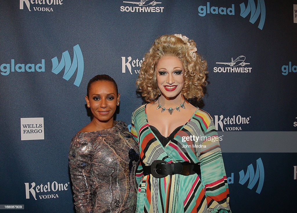 Mel B, aka Melanie Brown, and Jinkx Monsoon pose for a photo during the 24th Annual GLAAD Media Awards at the Hilton San Francisco - Union Square on May 11, 2013 in San Francisco, California.