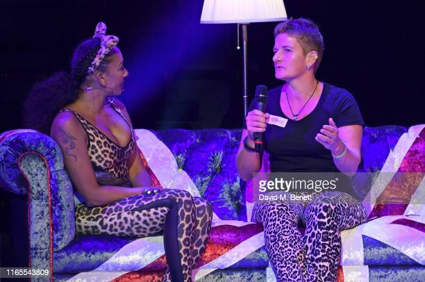 Mel B and a fan speak on stage during A Brutally Honest Evening With Mel B in support of Women's Aid at The Savoy Theatre on September 1 2019 in...