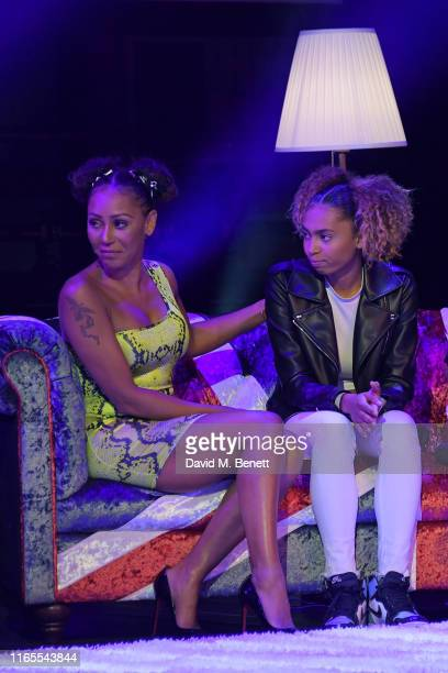 Mel B and daugher Phoenix Chi speak on stage during A Brutally Honest Evening With Mel B in support of Women's Aid at The Savoy Theatre on September...