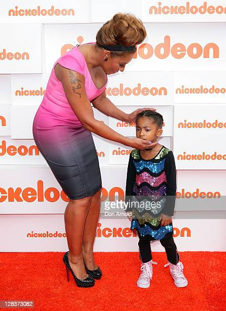 Mel B and daughter Phoenix Chi arrive at the 2011 Nickelodeon Kid's Choice Awards at the Sydney Entertainment Centre on October 7, 2011 in Sydney,...