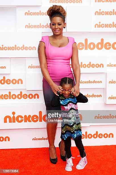 Mel B and daughter Phoenix Chi arrives at the 2011 Nickelodeon Kid's Choice Awards at the Sydney Entertainment Centre on October 7 2011 in Sydney...
