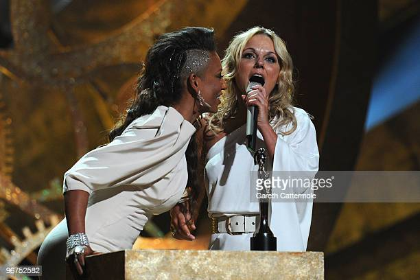 Mel B and Geri Halliwell accept the Spice Girls award for 'Brits Performance of 30 Years' on stage at The Brit Awards 2010 at Earls Court on February...