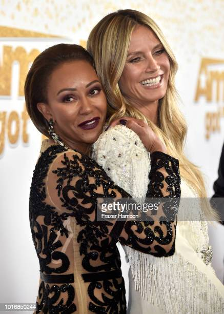 Mel B and Heidi Klum attend the America's Got Talent Season 13 Live Show at Dolby Theatre on August 14 2018 in Hollywood California