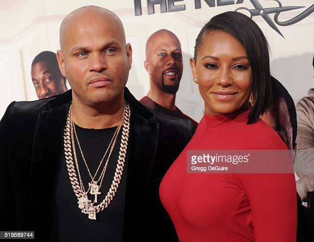 Mel B and husband Stephen Belafonte arrive at the premiere of New Line Cinema's 'Barbershop The Next Cut' at TCL Chinese Theatre on April 6 2016 in...