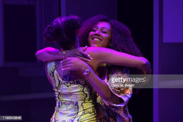 Mel B and sister Danielle Brown speak on stage during A Brutally Honest Evening With Mel B in support of Women's Aid at The Savoy Theatre on...