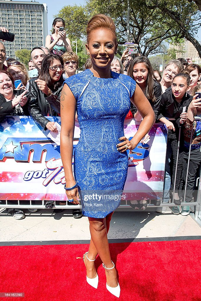 Mel B arrives at the 'America's Got Talent' Season 8 auditions at the Lila Cockrell Theatre on March 20, 2013 in San Antonio, Texas.