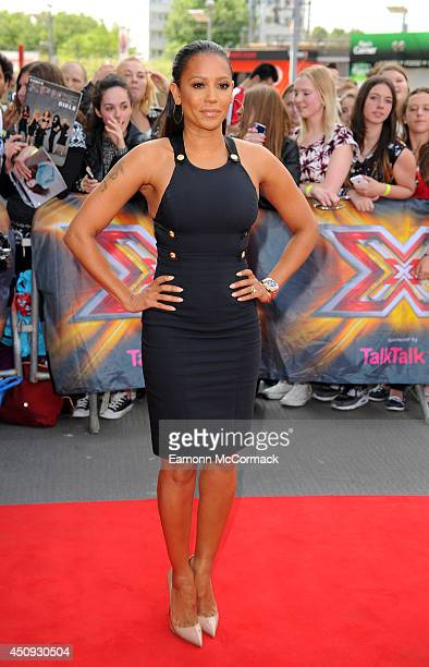 Mel B arrives for the London Auditions of X Factor at Emirates Stadium on June 20 2014 in London England