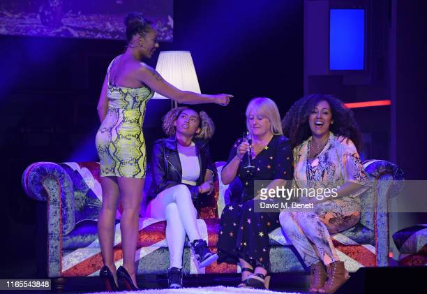 Mel B daughter Phoenix Chi mother Andrea Brown and sister Danielle Brown speak on stage during A Brutally Honest Evening With Mel B in support of...