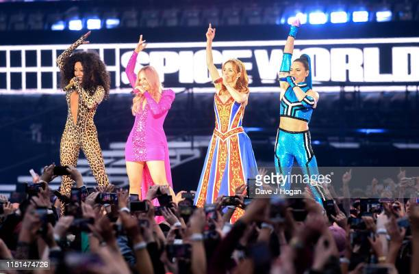 Mel B, Emma Bunton, Geri Halliwell and Melanie C of The Spice Girls perform on the first night of the bands tour at Croke Park on May 24, 2019 in...