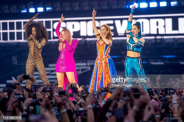 Mel B Emma Bunton Geri Halliwell and Melanie C of The Spice Girls perform on the first night of the bands tour at Croke Park on May 24 2019 in Dublin...