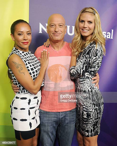 Mel B Howie Mandel and Heidi Klum arrive at NBC/Universal's 2014 summer Press Day at Langham Hotel on April 8 2014 in Pasadena California
