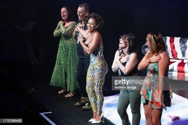Mel B invites member of the audience on stage during her Brutally Honest Fabulous Show at The Grand Theatre Opera House on August 25 2019 in Leeds...