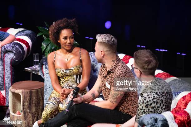 Mel B invites members of the audience on stage to ask questions during her Brutally Honest Fabulous Show at The Grand Theatre Opera House on August...