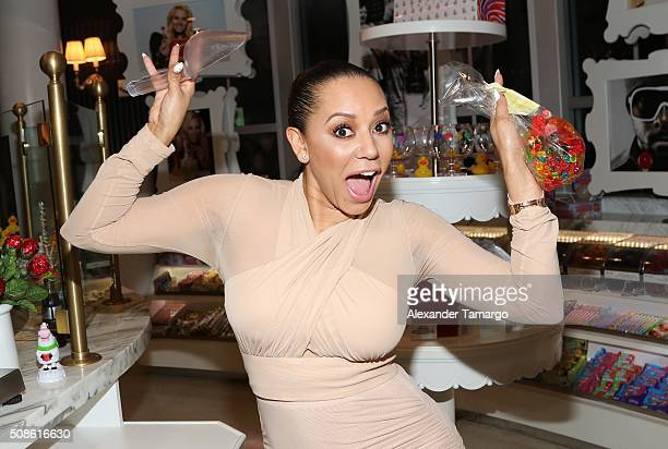 Mel B is seen at Sugar Factory American Brasserie during a meet and greet with her fans on February 5 2016 in Miami Florida