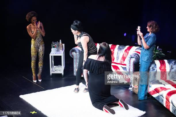 Mel B on stage with members of the audience during a marriage proposal during her Brutally Honest Fabulous Show at The Grand Theatre Opera House on...
