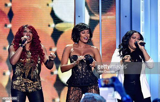Mel B performs onstage with Sandra Denton and Cheryl James of SaltNPepa at the VH1 Big Music in 2015 You Oughta Know Concert at The Armory Foundation...