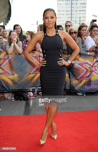 Mel B pictured arriving at the Emirates Stadium for the X Factor Auditions on June 20 2014 in London England