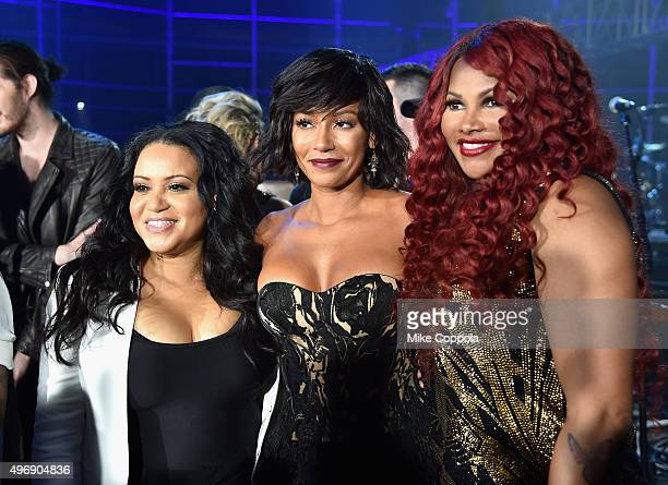 Mel B poses with Cheryl James and Sandra Denton of SaltNPepa at the VH1 Big Music in 2015 You Oughta Know Concert at The Armory Foundation on...