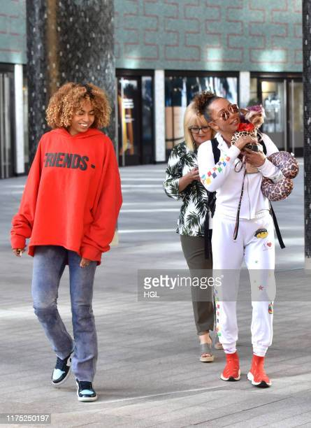 Mel B seen with her Mum Andrea Brown and daughter Phoenix Chi Gulzar at the ITV Studios on September 17 2019 in London England