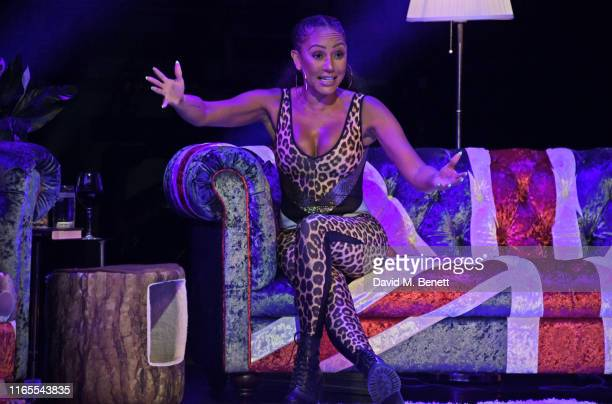 "Mel B speaks on stage during ""A Brutally Honest Evening With Mel B"" in support of Women's Aid at The Savoy Theatre on September 1, 2019 in London,..."