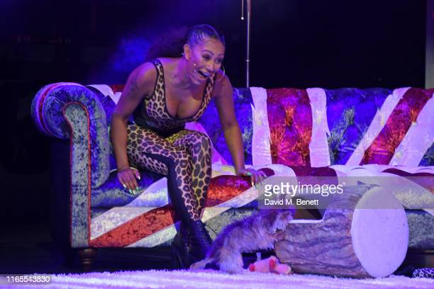 Mel B speaks on stage with dog Cookie during A Brutally Honest Evening With Mel B in support of Women's Aid at The Savoy Theatre on September 1 2019...