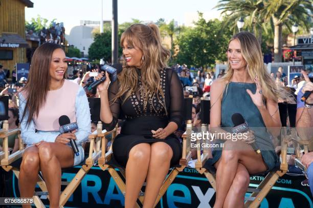 Mel B Tyra Banks and Heidi Klum of NBC's 'America's Got Talent' visit 'Extra' at Universal Studios Hollywood on May 1 2017 in Universal City...