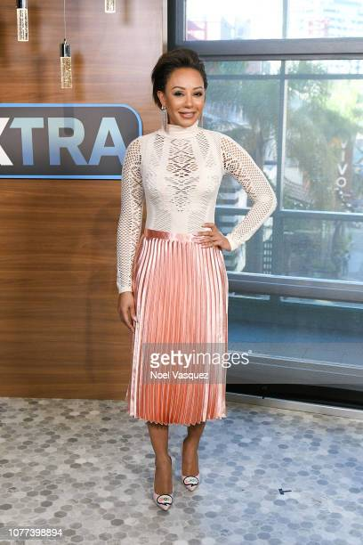 "Mel B visits ""Extra"" at Universal Studios Hollywood on December 04, 2018 in Universal City, California."