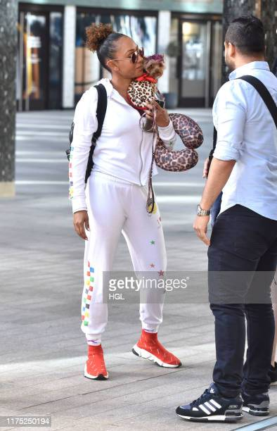 Mel B with her dog Cookie seen at the ITV Studios sighting on September 17 2019 in London England