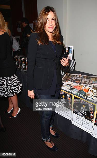 Mel Blatt poses at Celebrity Photographer Dave Hogan's book launch Access All Areas on October 2 2008 in London England Dave has been the Sun's...