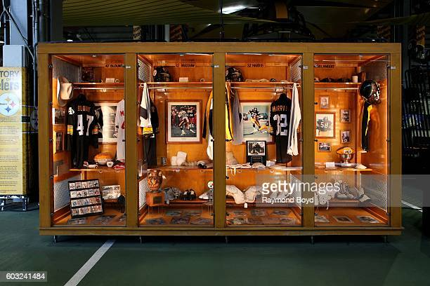 Mel Blount Terry Bradshaw Franco Harris and Jack Lambert lockers encased in the Pittsburgh Steelers 'Walk Of Fame' in the Great Hall concourse inside...