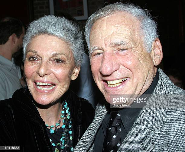Mel Brooks and Anne Bancroft during The Cast of 'The Producers' Welcome Richard Kind and Alan Ruck of 'Spin City' to Broadway at The St James Theater...