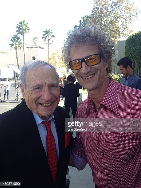 Mel Brooks and Jimmy Steinfeldt at the Mel Brooks street and mural dedication at Fox Studios in Los Angeles California on October 23 2014