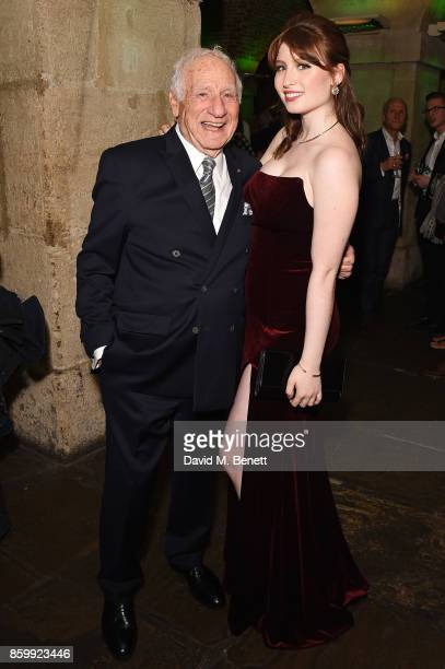 Mel Brooks and Samantha Brooks attend the press night performance of 'Mel Brooks' Young Frankenstein' at The Garrick Theatre on October 10 2017 in...