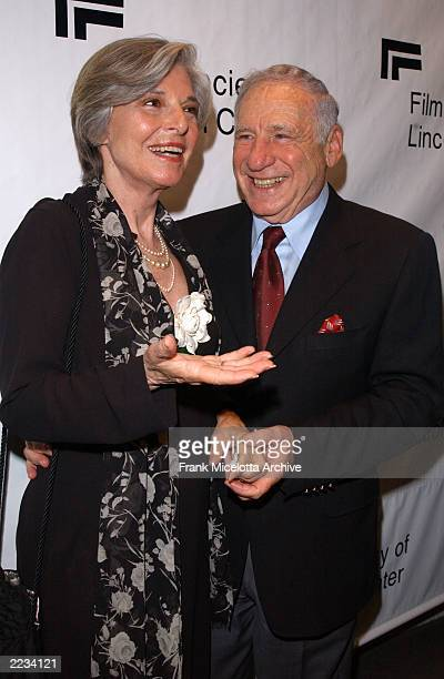 """Mel Brooks and wife Anne Bancroft backstage before """"Springtime for Mel Brooks: Musical Moments from His Movies"""" presented by the Film Society of..."""