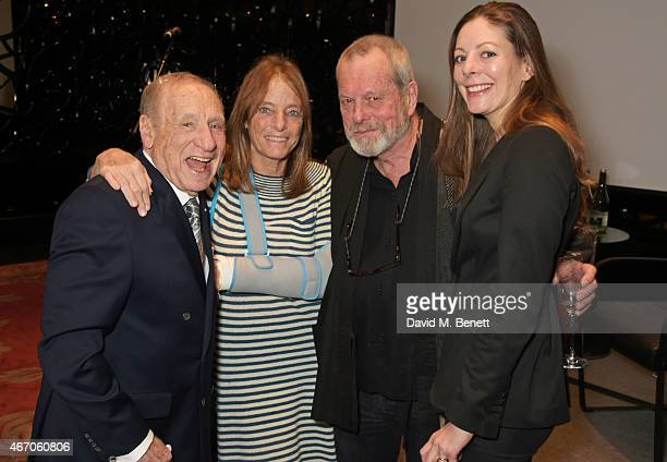 Mel Brooks Lady Ruth Rogers Terry Gilliam and Maggie Gilliam attend the Mel Brooks BFI Fellowship Dinner at The May Fair Hotel on March 20 2015 in...