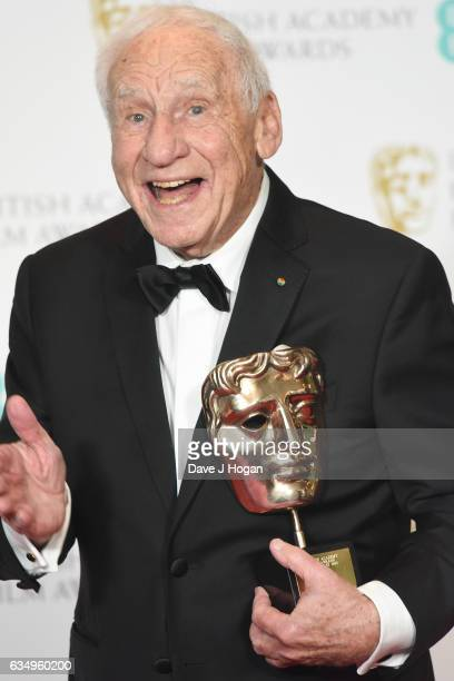 Mel Brooks poses in the winners room with his Fellowship award at the 70th EE British Academy Film Awards at Royal Albert Hall on February 12 2017 in...
