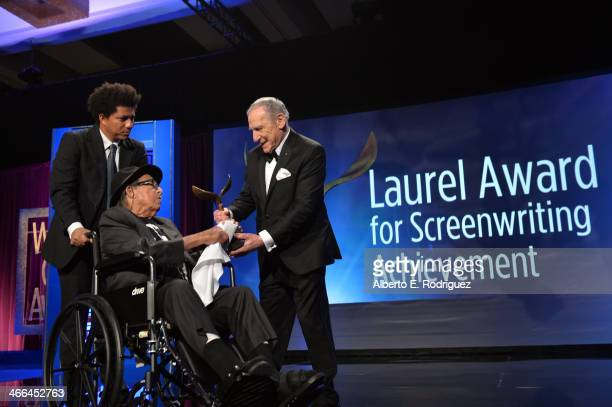 Mel Brooks presents Paul Mazursky with the 2014 Screen Laurel Award onstage during the 2014 Writers Guild Awards LA Ceremony at JW Marriott at LA...